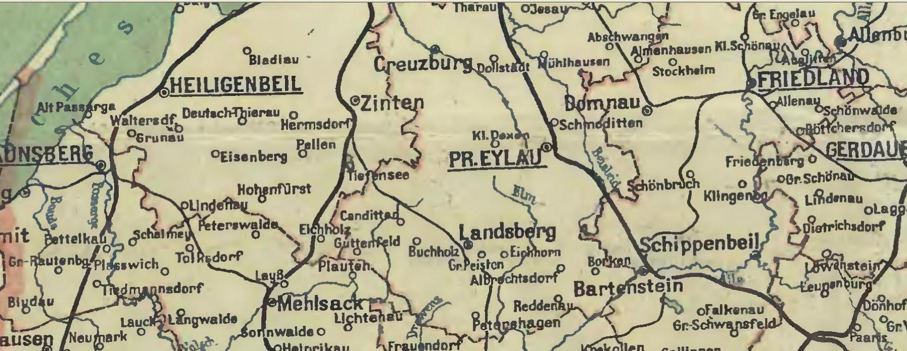 Karte Ostpreußen.Karte Der Kirchorte In Ostpreußen Genealogie Tagebuch